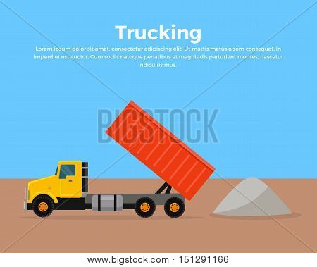 Trucking vector banner. Cargo concept in flat style design. Transportation of goods and materials by heavy construction tipper.
