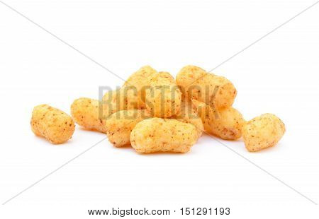 Peanut, corn puffs isolated with white background