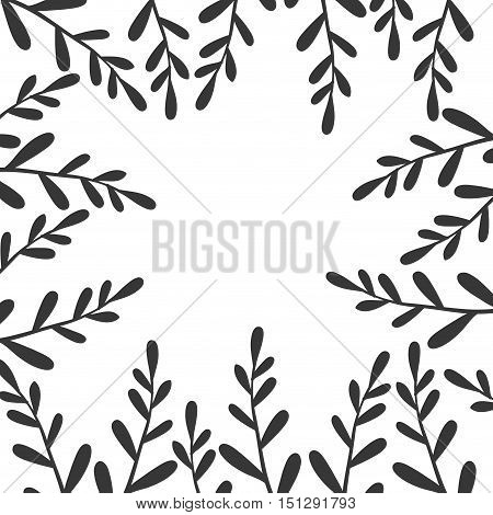 border with black branches and leaves vector illustration