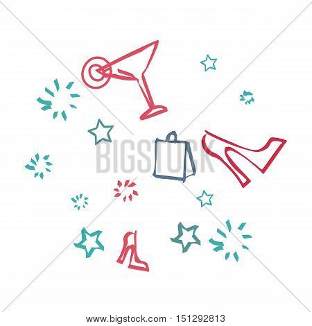 Background with icons symbolizing day off. Sign of bag, cocktail drink, shoe and stars. Dreaming about disco or a cool party. Thoughts to have a good rest in the nearest time. Vector illustration