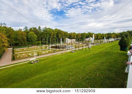 fountains of Peterhof Grand Cascade September 14 2016 St. Petersburg Russia