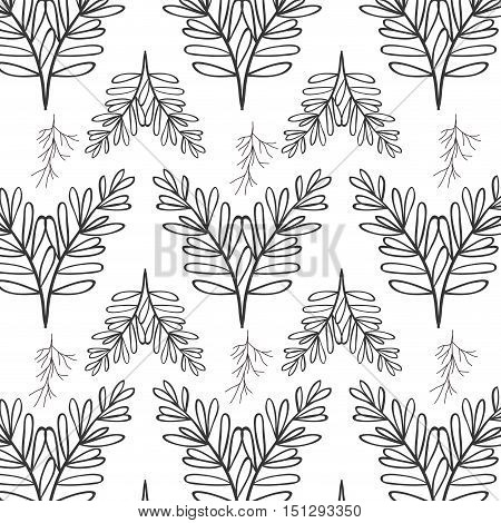 pattern oval leaves and branches vector illustration