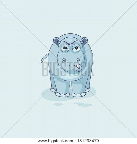 Vector Stock Illustration isolated Emoji character cartoon Hippopotamus sticker emoticon with angry emotion for site, info graphics, video, animation, websites, e-mails, newsletters, reports, comics