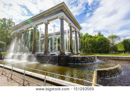 fountains of Peterhof lion cascade September 14 2016 St. Petersburg Russia