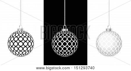 three black white and gray christmas balls hanging in chain