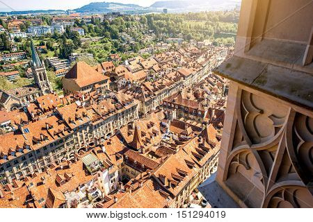 Beautiful aerial view on the old town with historical buildings in Bern city in Switzerland