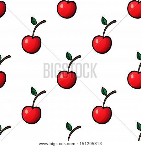 Seamless pattern with red cherry on white background. Vector outline illustration. Sweet juicy fruit. Ripe berry. Ideal for wallpaper greeting card design restaurant menu cover textile print web design wrapping decor scrap book. Repeatable food texture.