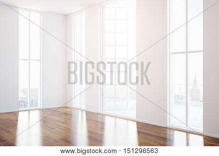 Side view of creative unfurnished interior with open balcony door panoramic windows with city view and wooden floor. 3D Rendering