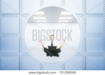 Meditating businessman inside bank vault. 3D Rendering