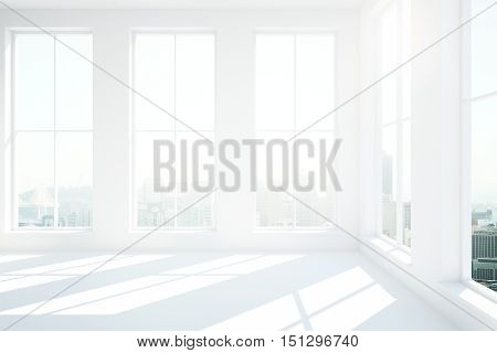Minimalistic white interior with numerous windows city view and sunlight. 3D Rendering