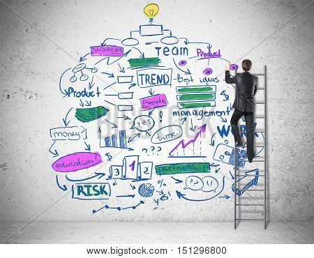 Back view of businessperson on ladder drawing creative colorful business sketch. Success concept