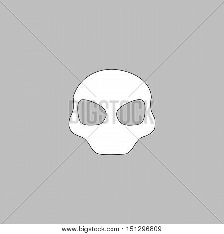 Alien Head Simple line vector button. Thin line illustration icon. White outline symbol on grey background