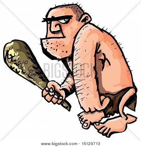 Cartoon Caveman With A Club