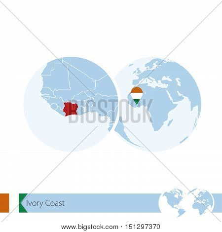 Ivory Coast On World Globe With Flag And Regional Map Of Ivory Coast.