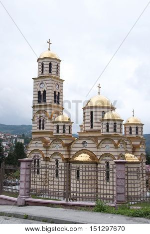 orthodox tserk with gilded domes, Bosnia and Herzegovina