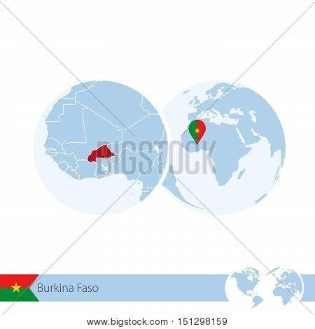 Burkina Faso On World Globe With Flag And Regional Map Of Burkina Faso.
