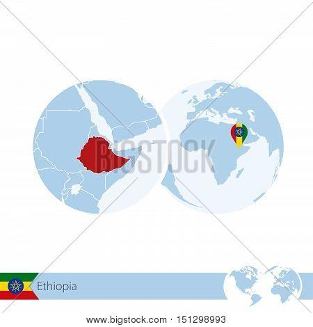 Ethiopia On World Globe With Flag And Regional Map Of Ethiopia.