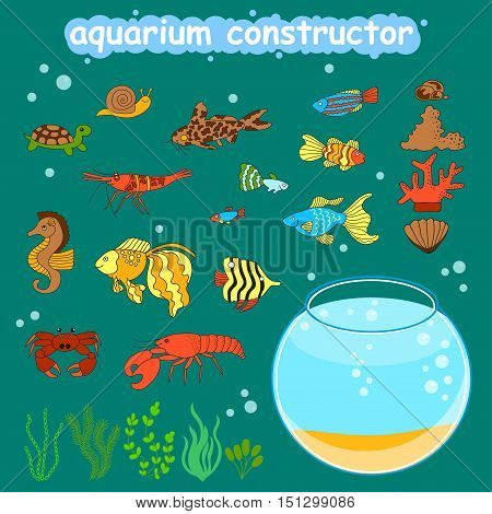Fishbowl different fishes and decorations for making your aquarium