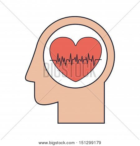 Silhouette head human with red heart beats vector illustration