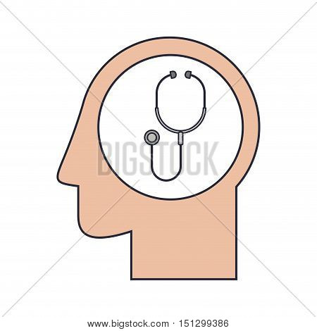 Silhouette head human with gray stethoscope vector illustration
