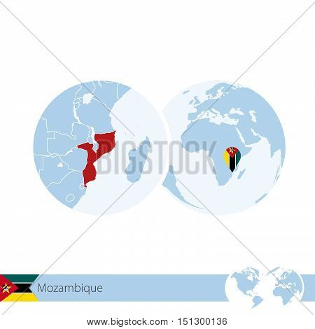 Mozambique On World Globe With Flag And Regional Map Of Mozambique.