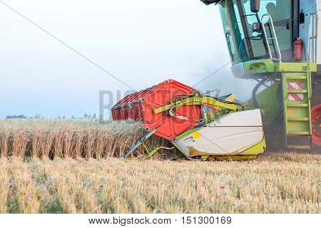 Maize harvester while harvesting wheat side view