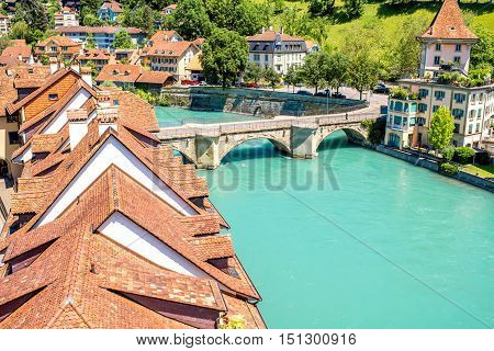 Cityscape view on the old town with Aare river and old bridge in Bern city in Switzerland