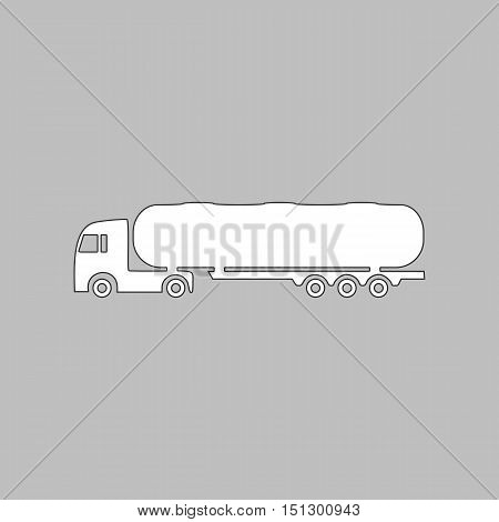 Fuel Truck Simple line vector button. Thin line illustration icon. White outline symbol on grey background