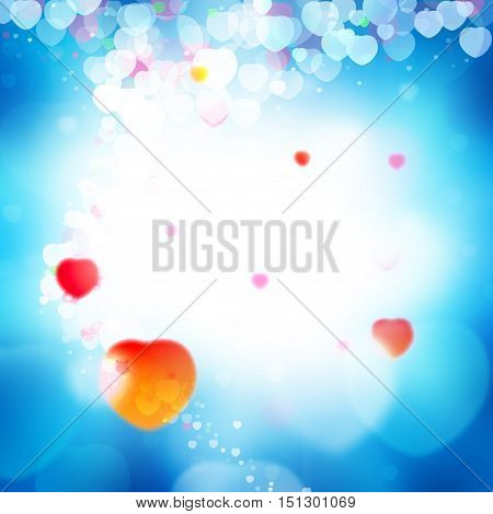 blue love background. colorful hearth bokeh for valentine day love concept