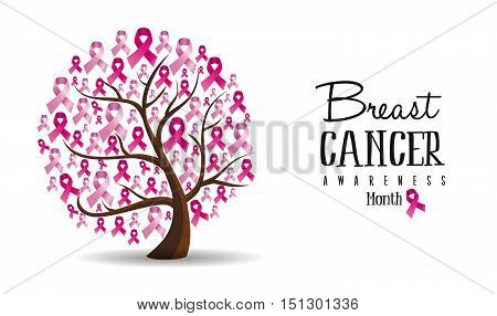 Breast Cancer Awareness Concept Ribbon Tree Design