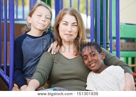 Cheerful Single Mom With Sons Outside