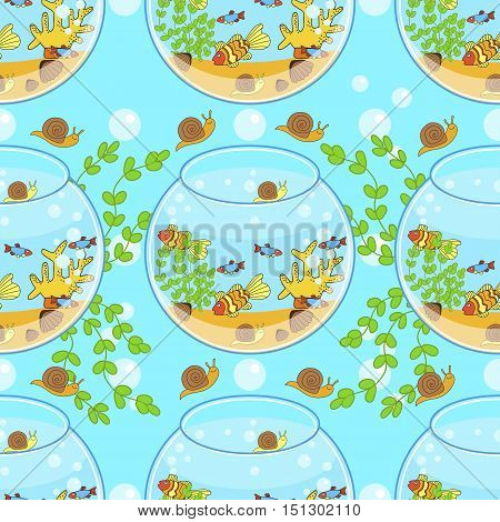 fishbowl pattern with fish snail and decorations. Aquarium pattern.