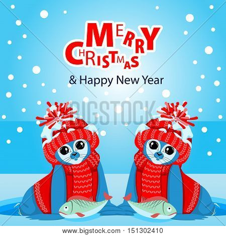Fur seal pups in colorful hats on a background of a winter landscape. The celebration of Christmas and New Year. Arctic animals character and background, Winter Landscape, Nature Travel Wildlife.