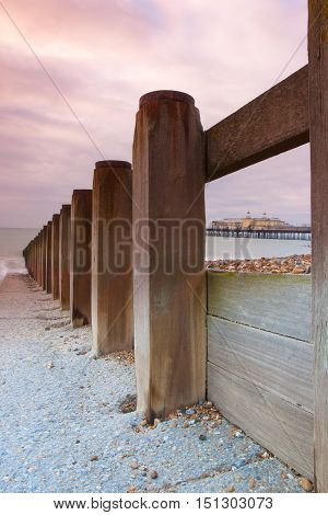 Breakwater and sunrise of Hastings Pier Great Britain. Before the Fire of 2010