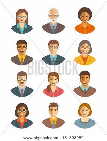 Business people vector avatars set. Business team icons. Men and women in suits young and senior caucasian and african american characters. Company staff profile pictures. Simple flat happy faces