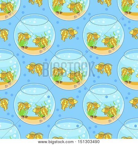 fishbowl pattern with fish and decorations. Blue background.