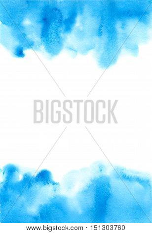 Beautiful blue watercolor abstract background. Hand painted banner. Ink spreading on top and bottom. White space for your text in center.