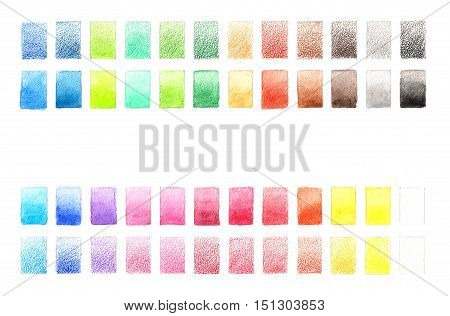 Color palette of watercolor pencils. Color chart. 24 tones. Colorful background pallet. Illustration on white background.
