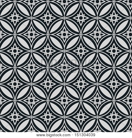Abstract ethnic geometric vector seamless pattern on a dark background . EPS 10.