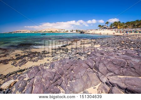 Fuerteventura, Spain - July 1, 2016 - View To Costa Calma Sandy Beach With Vulcanic Mountains In The