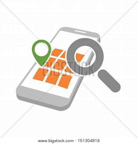 mobile phone with geo map marking and magnifying glass as gps location searching symbol abstract vector illustration isolated on white