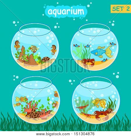Aquarium set with fish and decoration. Fishbowl set. Vector collection.
