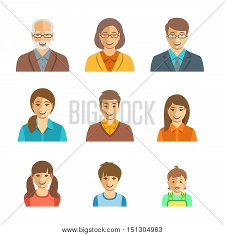 Family members happy faces. Vector flat avatars. People generation simple icons. Mother father and adult teen and little kids. Caucasian portraits. Young senior men and women boys girls and baby