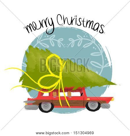Merry Christmas Art Of Retro Car With Pine Tree