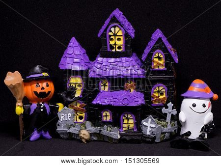 Halloween Ghost house toy with black background