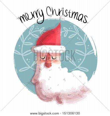 Merry Christmas Illustration Of Santa Claus Face