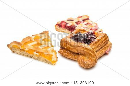 pieces of fruit cake isolated on white background