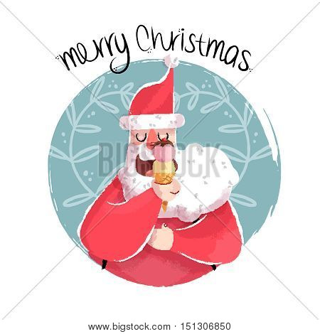 Christmas Illustration Of Fun Santa With Ice Cream
