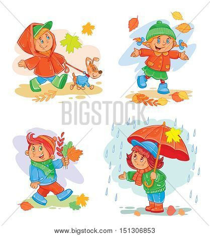 A set of vector icons of small children in autumn clothes