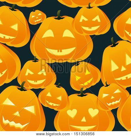 Pumpkins seamless background on dark. Halloween pattern.